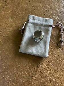 David Yurman Wide CrossOver Sterling Silver Cable Band Ring Size 7.5 & Pouch