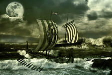 Framed Print - Viking Longboats Sailing on the High Seas (Picture Poster Art)