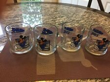 MICKEY MOUSE 'Break Time' In The Office 8oz. GLASS Coffee Mug Tea Cup set of 4