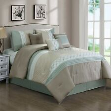 7 Piece Mila Embossed and Pleated Comforter Set Bed-In-A-Bag (Queen, Taupe)