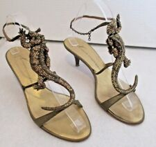 GIUSEPPE ZANOTTI Bronze Iguana Embellished Crystal Sandal - Size 7B