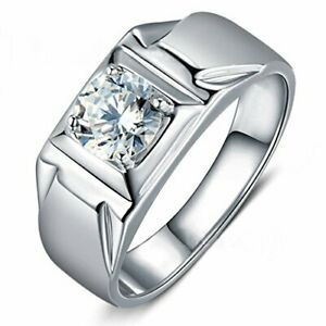 1.00 CT Diamond Round Cut Solitaire Men's Wedding Band Ring 14K White Gold Over