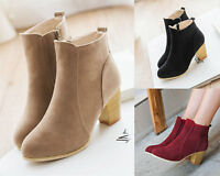 Women Mid Calf Shoes High Heels Ankle Boots Martin Boots Suede Shoes Platform