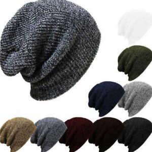 Mens Ladies Knitted Woolly Winter Oversized Ski Slouch Beanie Hat Cap Skateboard
