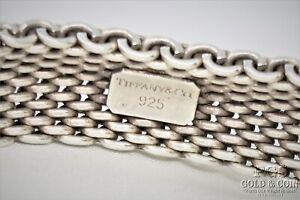 """Tiffany & Co Somerset Mesh Weave Bracelet 925 Sterling Silver 5/8""""wide, 7"""" 21451"""