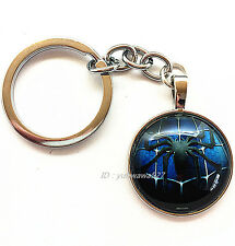 blue Spiderman Photo Cabochon Glass Tibet Silver Chain Key Ring