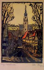 Albert IHRIG (1889-1985) - Farbholzschnitt 1922 - Handdruck - Dorf mit Fachwerk