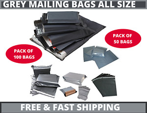 50 100 Strong Grey Mailing Bags Parcel Postage Plastic Post Poly Self Seal UK