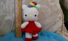 Hello Kitty - all in red with ear flowers!  Handcrafted / crocheted kitty