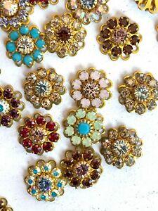 S163 - 30 Set w/ Swarovski Rhinestones - Flower Components Sew Ons - Mix Colors