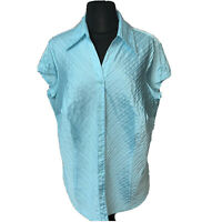 Dress Barn Womens size 1X Button Down Shirt  Blouse Cotton Pleated