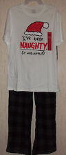 """NWT MENS """"I've been NAUGHTY (it was worth it)"""" KNIT &  FLEECE PAJAMA SET  SIZE S"""