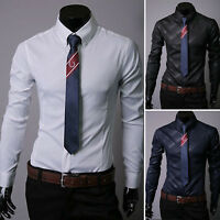 Men Luxury Slim Fit Long Sleeve Casual Business Formal Dress Shirts Classic Tops