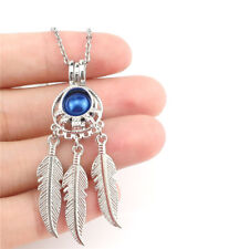 K973 Silver Color Pearl Cage Dream Catcher Charm Necklace 20""