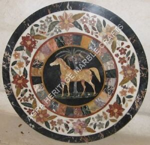 """36"""" White Marble Round Coffee Center Table Top Horse Mosaic Inlay Decor H5011"""