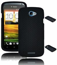 for HTC One S Hybrid Case Black Hard Mesh / Gel Skin Silicone Cover