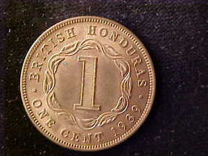 BRITISH HONDURAS ONE CENT 1939 MOSTLY RED AU-BU