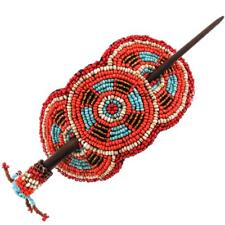 NATIVE TRIBAL STYLE MIX TURQUOISE BEIGE ORANGE RED HANDMADE SEED BEADS hairpin