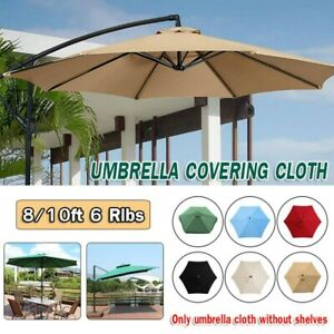 8/10' Outdoor Garden Parasol Patio Sun Shade Canopy Garden Umbrella Crank 6 Rib