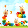 Stretch Caterpillar Colorful Wooden Worm Puzzle Wooden Infant Educational Toys