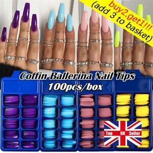 100Pcs/Set Full Cover False Nail Matte Tips Coffin Fake Nails Manicure UV Gel