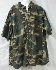RALPH LAUREN Green Camouflage Shirt Size 4XLT Button Front Short Sleeve Pocket