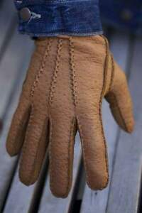 Men's Peccary Leather Gloves Cashmere Hand sewing Winter Gloves Black Cognac