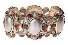 Vintage Deco Soft Bronze Gold Pearl Regency Amber Relief Motif Elastic Bracelet