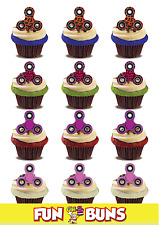 FIDGET SPINNER GIRLS MIX Standup Cake Toppers. Novelty Fun Party Edible Wafer