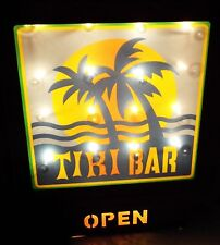 New Lighted Tiki Bar Open Sign Home & Garden Porch Patio Den Wall Plaque