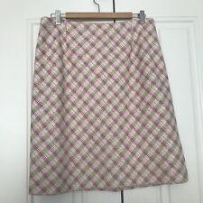 CARLISLE Women's 14 Pastel Tweed Basket Weave Silk Cotton Spring Pencil Skirt