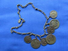 """Vintage Pididdly Links 16"""" Coins Medals Medallions Brass Necklace Exc Cond!"""
