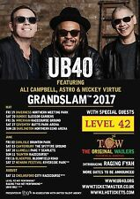 "UB40 / LEVEL 42 / THE ORIGINAL WHALERS ""GRANDSLAM  2017"" UK CONCERT TOUR POSTER"
