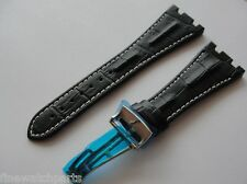 28mm Black Horn Back Leather Strap Band White Stich For AP ROO W/Depl Buckle