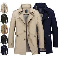 2018 Fashion Men's Winter Slim Vogue Trench Coat Long Jacket Overcoat Outwear