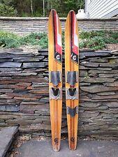 """VINTAGE Wooden Waterskis Water Skis 67"""" Cypress Gardens Super Grooved"""