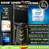 Ordenador Gaming Pc Sobremesa Intel Core i3 4GB DDR3 1TB HDD Wifi Windows Office