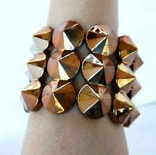 Goth Spike Cuff Statement Stretch Bracelet Gothic Punk Biker Copper Color