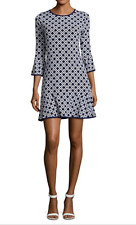 Michael Kors Printed Dropped-Waist Dress Size M