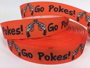 "BTY 7/8"" Oklahoma State Go Pokes! Football Grosgrain Ribbon Lisa"