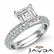 Sturdy Asscher Diamond Pre-Set Engagement Ring GIA I SI1 14k White Gold 2.08 ct