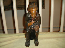 Vintage Spain Wood Carved Fisherman Smoking A Pipe-Intricate Wood Carving-LQQK