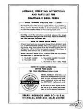 Craftsman DRILL PRESS Manual Model 113.24540-113.24560