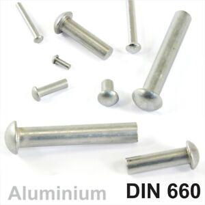 Solid Aluminium Round Head Rivets DIN 660 Dia 2mm 2,5mm 3mm 4mm 5mm 6mm Dome Pan