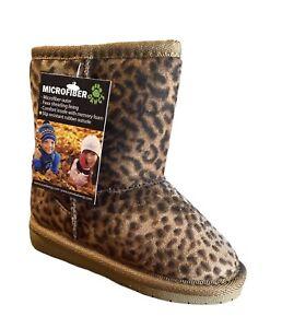 Toddler Sheep dawgs  DAWGS Leopard  Boots Fleece Lined Memory Size 4/5 NIB CB