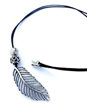 "Authentic Pandora Sterling Silver CZ Feather Necklace On Leather Cord 32""-24"""