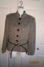Gennyway Jacket, 6, Black and white tweed, Leather belt, lined, wool/nylon