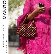 MANGO Mini Tote Bag BEADED WOOD Brown Wooden Beads LIMITED EDITION HandBag NWT