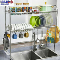 3 Tier Over The Sink Dish Drying Rack Shelf Stainless Kitchen W/ Cutlery Holder