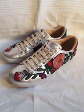GUCCI Women's or Men's unisex floral silver sneaker shoes .  US 42